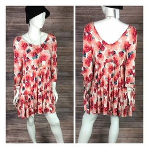 Plus boho floral mini dress size L